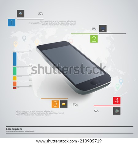 Modern communication technology illustration with mobile phone and high tech background  - stock vector