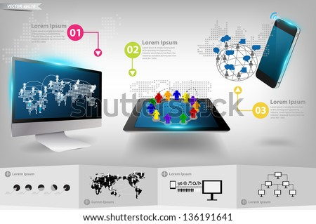 Modern communication technology mobile phone with tablet computer, Vector illustration template design - stock vector
