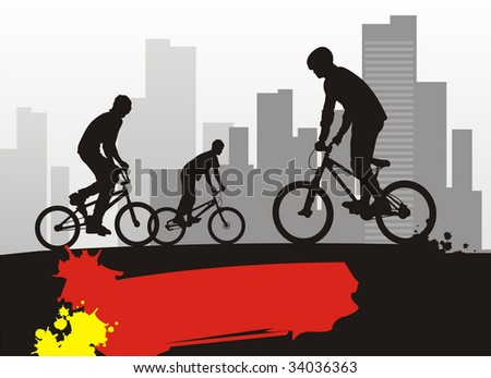 Modern composition with bicyclists. In the foreground three boys on bicycles. On a distance shot a city landscape. - stock vector