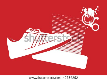 Modern composition with gym shoes. In the foreground gym shoes are located. Near to them a free field for the text. - stock vector