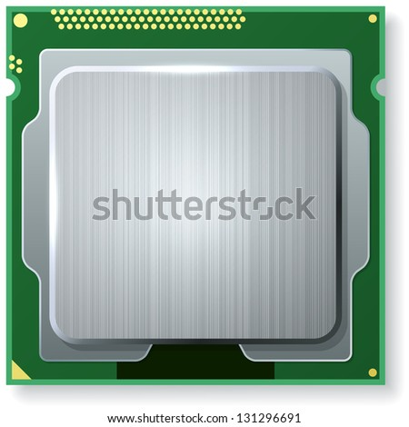 Modern computer core processing unit (CPU) isolated on white background. - stock vector