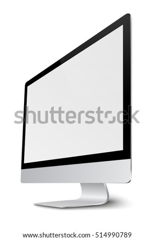 Modern computer monitor display with blank screen isolated on white background. Vector eps10.