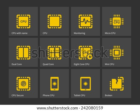 Modern computer processor  icons. Vector illustration. - stock vector