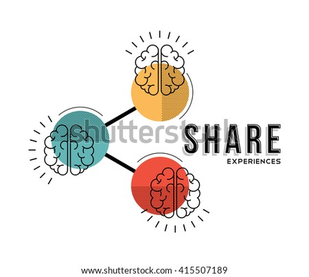 Modern concept illustration of brains. Share experiences, knowledge, memories and information. EPS10 vector. - stock vector
