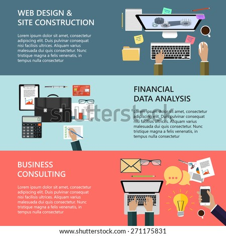 Modern concepts collection in flat design for e-business, web site construction, mobile applications, banners, corporate brochures, book covers, layouts etc. Vector eps10 illustration - stock vector