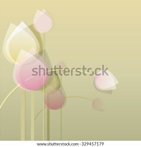 Modern contemporary decorative abstract pastel color tulip flower bouquet in minimal style - stock vector