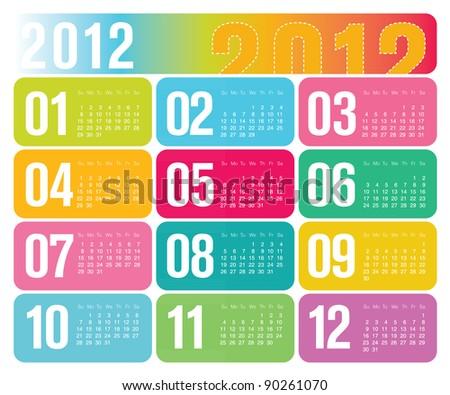 Modern Contemporary 2012 Yearly Wall Calendar Design - stock vector