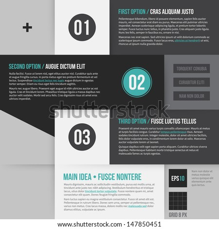 Modern corporate layout with 3 options. EPS10. - stock vector
