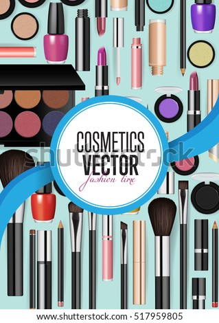 Modern cosmetics accessories concept. Different instruments for professional makeup vector illustrations set on turquoise background. For beauty salon, shop ad, brochures, flyers, promotions design