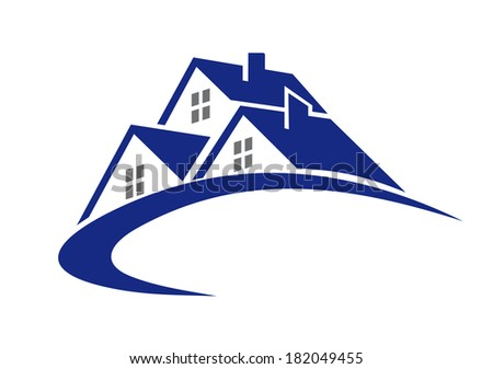 Modern cottage or house symbol logo for real estate industry design  - stock vector