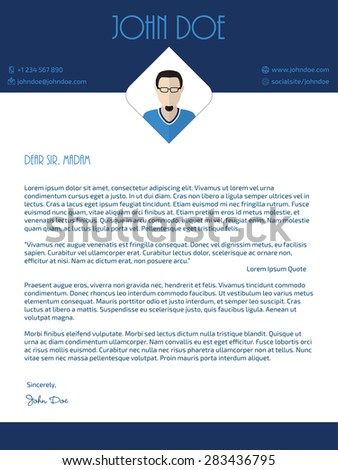 Modern cover letter design with blue white colors - stock vector