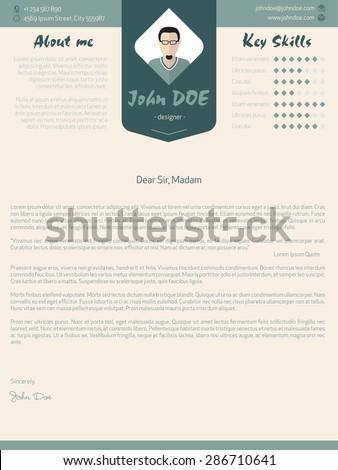 Modern cover letter design with plenty of details - stock vector