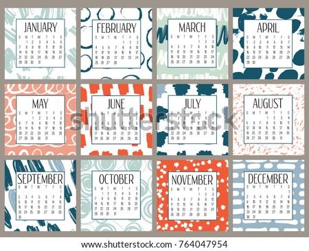 Modern Creative Calendar 2018 Abstract Monthly Stock Vector 2018