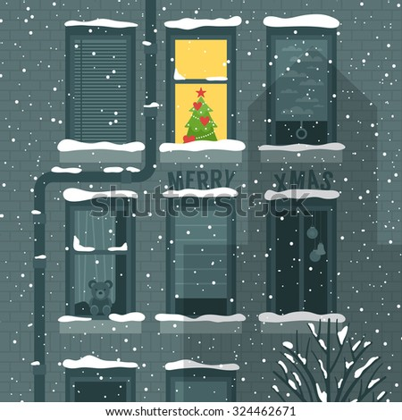 Modern creative Christmas holiday greeting card design with building and windows. Vector illustration - stock vector