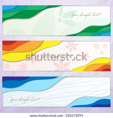 Modern creative colorful banner set, vector - stock vector
