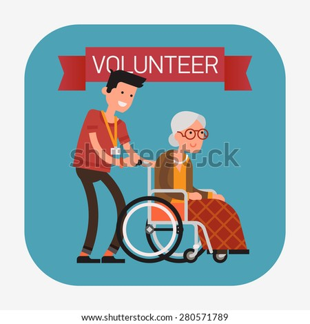 Modern creative flat design web icon on young volunteer man caring for elderly woman | Adult man helping old aged female | Senior female citizen sitting in wheelchair pulling by young man - stock vector