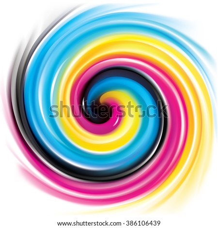 Modern creative fusion eddy aqua fond pattern of vivid primary dye gamma full-color printout technology process glossy curvy spraying ripple disk. Closeup view with space for text in glowing center - stock vector