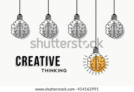 Modern creative thinking concept design, human brains in black and white with colorful one getting an idea. EPS10 vector. - stock vector
