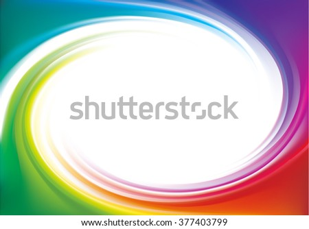Modern creative wonderful eddy futuristic festival happy aqua backdrop of vivid multi colored glossy curled striped spraying ripple sphere. Closeup view with space for text in middle of funnel - stock vector