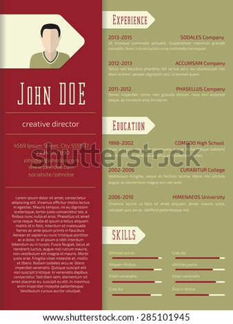 Modern curriculum vitae cv resume template design - stock vector