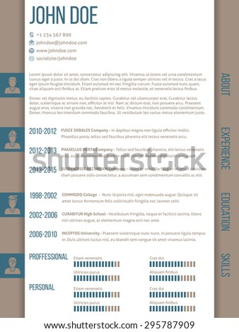 Modern curriculum vitae cv resume template design with side categories - stock vector