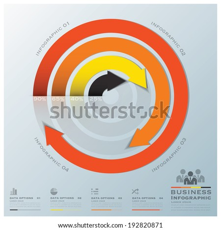 Modern Curve Arrows Business Infographic Design Template - stock vector