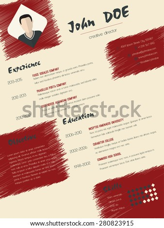Modern cv curriculum vitae resume design with scribbled elements - stock vector
