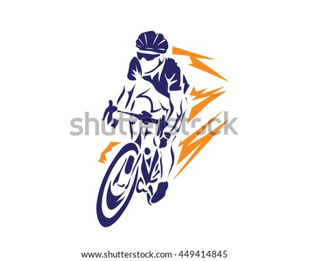 Modern Cycling Action Silhouette Logo - Lightning Speed Cyclist - stock vector