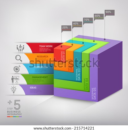 Modern 3d box staircase diagram business. Vector illustration. can be used for workflow layout, banner, number options, step up options, web design, infographics. - stock vector