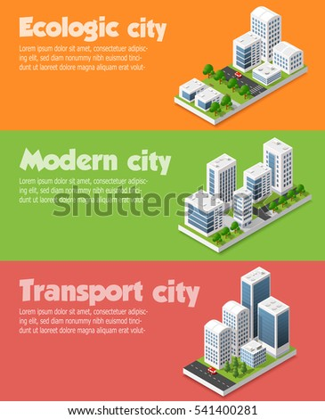 Modern 3D city isometric three-dimensional infographic option banner with colorful  for the business conceptual graphs and diagrams, including skyscrapers, homes and stores with streets