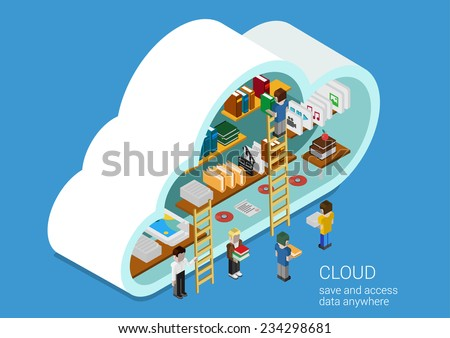 Modern 3d flat design isometric concept for cloud service online media file data backup storage. Cloud shape library shelf and people on the ladders upload download folder data disc information. - stock vector