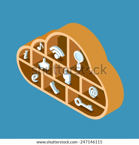 Modern 3d flat design isometric concept for cloud service online media file data backup storage. Cloud shape wooden library shelf with icon set. - stock vector