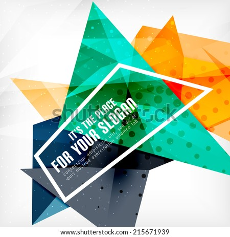 Modern 3d glossy overlapping triangles in different colors with texture and light effects. Business brochure background design with copyspace - stock vector