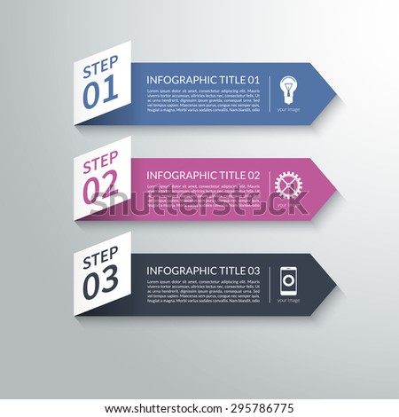 Modern 3d paper arrow infographic design elements in material style. Vector illustration. Can be used for workflow layout, presentation, diagram, chart, number and step options, web design