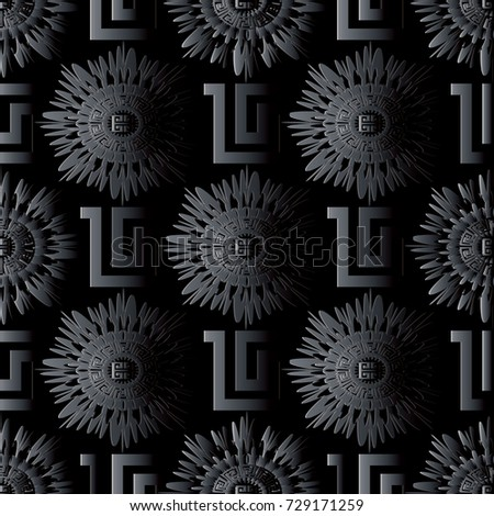 Modern dark black geometric seamless pattern. Vector  meander black background. 3d wallpaper with greek key ornaments. Ornamental floral design. Abstract surface 3d texture with shadows and highlights