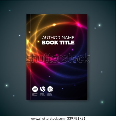Modern dark Vector abstract brochure / book / flyer design template with plasma effect - stock vector