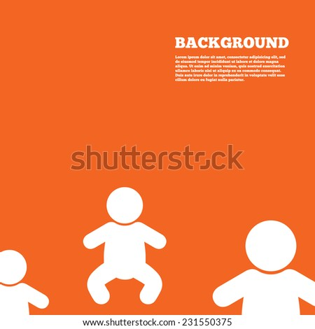 Modern design background. Baby infant sign icon. Toddler boy in pajamas or crawlers body symbol. Child WC toilet. Orange poster with white signs. Vector - stock vector
