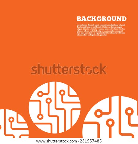 Modern design background. Circuit board sign icon. Technology scheme circle symbol. Orange poster with white signs. Vector - stock vector