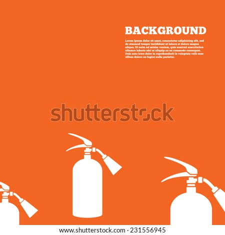 Modern design background. Fire extinguisher sign icon. Fire safety symbol. Orange poster with white signs. Vector - stock vector