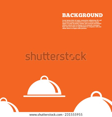 Modern design background. Food platter serving sign icon. Table setting in restaurant symbol. Orange poster with white signs. Vector - stock vector