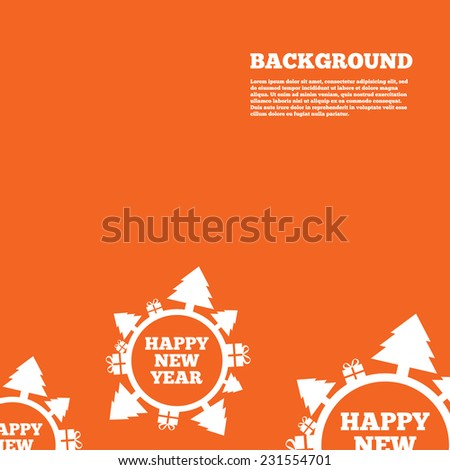 Modern design background. Happy new year globe sign icon. Gifts and trees symbol. Full rotation 360. Orange poster with white signs. Vector - stock vector