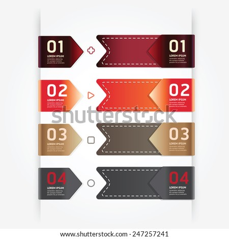 Modern design button tag blank rectangle labels set / can be used for infographics / numbered banners / graphic or website layout vector - stock vector