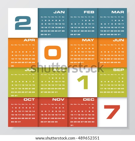 Calendar 2017 Simple Flat Design Vector Stock Vector 309731255