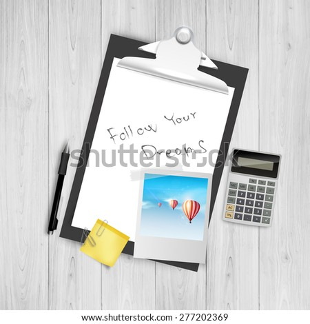 Modern Design Concept of Creative Office Workspace Still Life, Realistic Vector illustration. - stock vector