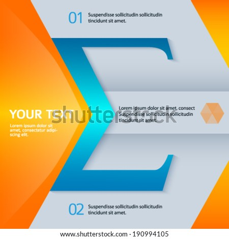 Modern design element bright glowing background for a cover magazine layout or business presentation template with the sign of the arithmetic sum and item number. Abstract vector illustration eps 10