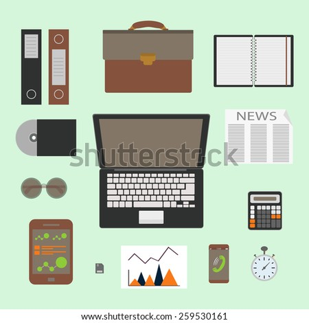 Modern design flat icon vector collection concept in stylish colors of business workflow items and elements, office things and equipment, finance and marketing objects. Isolated on green background. - stock vector