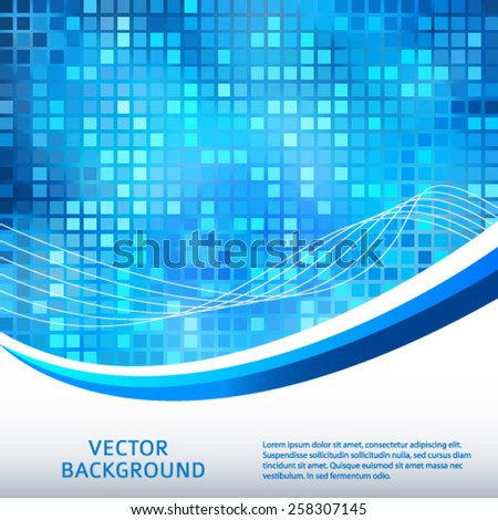 Modern Design geometric style template on glowing background with space place for your text. Blue square shapes & wave lines. Vector illustration EPS 10 for new product theme booklet