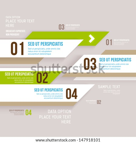Modern design infographic template. Numbered banners. Minimal style design  for business graphic. Paper