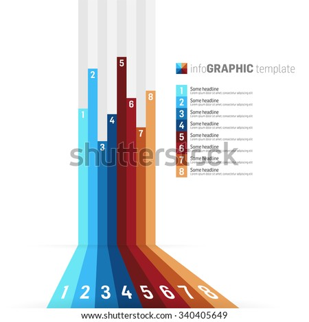 Modern design infographic with icons template, 8 color stripes on light background - stock vector
