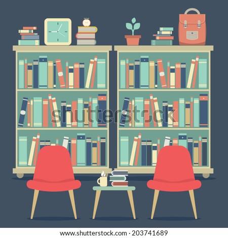 Modern Design Interior Chairs and Bookshelf - stock vector